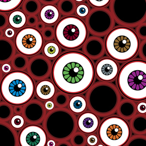 Digital Illustration of Eyeball Pattern by Howard Forbes, Book Cover Art for DARK STARS RISING by Shade Rupe
